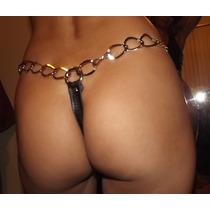 Micro Tanga Sex-imita Couro-corrente Prateada- Linda