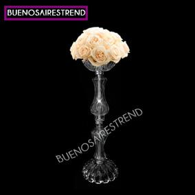 Centro De Mesa De Vidrio Porta Bouquet 40cm Arreglo Floral