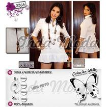 Ropa Blanca Playera Vestido Corto Bluson Ultima Moda 2017