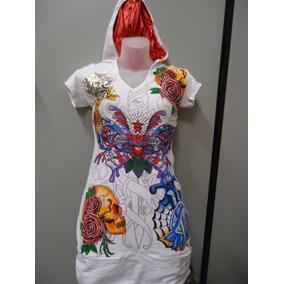 Vestido Ed Hardy - Branco Com Capuz Fundo Vermelho Original