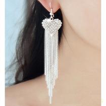 Aretes Corazon Pateados Largos Con Cristales Elegantes