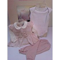 Conjunto Paraiso Bebe Menina 3 Peças Body + Calça + Blusa