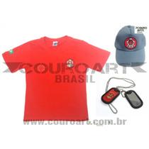 Farda Bombeiro Infantil Mirim - Camiseta + Boné + Dog Tag