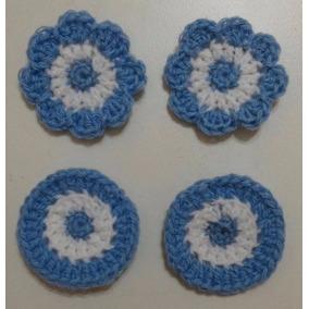 Escarapela Tejida A Crochet. 4 Cms. También Otros Tamaños.