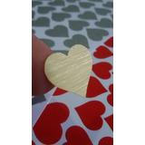 Coração Adesivo Aço Escovado Ouro Prata (vinil) Vermelho