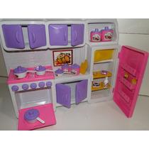 Kit Cozinha Casa Boneca Panelinha Geladeira Tipo Da Barbie