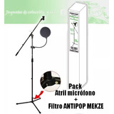Pack Atril Microfono Con Boom Mekse + Filtro Antipop