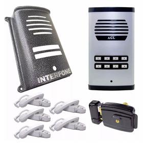 Kit Coletivo 8 Pontos + 5 Interfones + Fechadura + Protetor