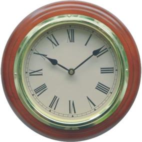 Reloj De Pared Madera Números Romanos Segundero Continuo