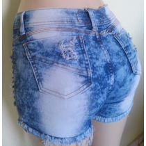 Shorts Jeans Feminino Manchado Hot Pants Empina Bumbum