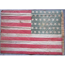 Antigua Banderita Usa Visita Presidente Roosevelt