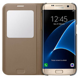 Estuche Forro Samsung S7 Edge S View Cover Dorado