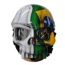 Capacete Caveira - Pintura Bandeira Brasil - Moto Custom