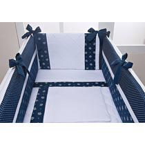 Kit Mini Berço Azul Marinho Com Branco Realeza Principe 7peç