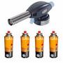 Maçarico Portátil Acendimento Automático + 4 Refil De Gás
