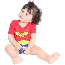 Fantasia Mulher Maravilha P/bebê Body De Verão Macacão Curto