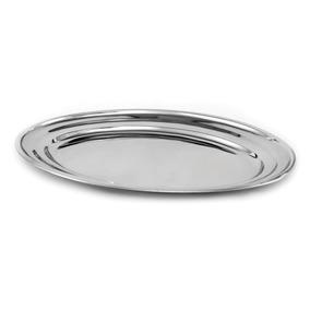 10 Travessas Oval Aço Inox Rasa 30 Cm - Bandeja Oval Porções