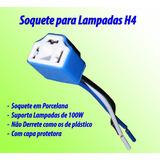 Soquete Farol Lâmpada H4 C/fio 1,5mm - Super Branca E Xenon
