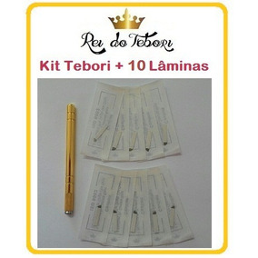 Kit Caneta Tebori Gold Luxo + 10 Laminas