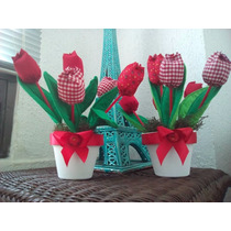 Ramo Floral Centro D Mesa Infantil Tulipanrojo Flor De Tela