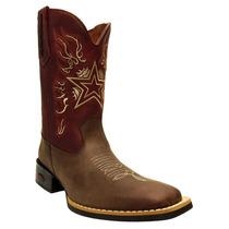 Bota Texana Country Rodeio Bico Quadrado Cano Alto Em Couro