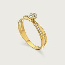 Anel Solitário De Ouro Feminino 18k(750) Com Diamante