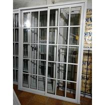 Puerta Balcon 120x200 Vidrio Repartido + Reja + Mosquitero