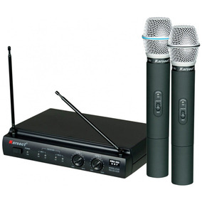 Microfone Karsect Kru 302 Sem Fio Duplo Mão Uhf Com Maleta