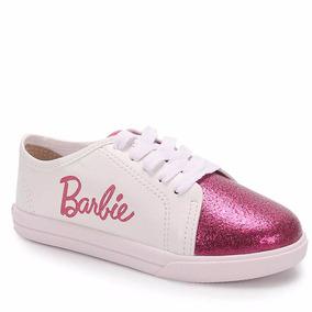 Tênis Infantil Grendene Barbie Glitter 21585 Rosa Prata Ouro