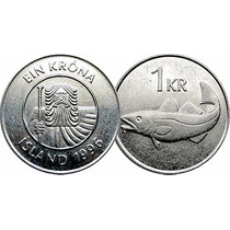 Moeda Da Islandia 1 Krona Datas Variadas Mbc 22 Mm Fc