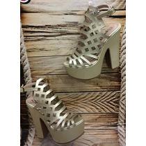 Lindo Zapato Para Mujer Dama Tacón Plataforma Color Dorado