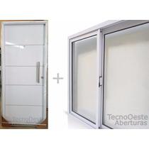 Combo Puerta Doble Chapa Blanca + Ventana Aluminio 150x110