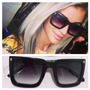 Óculos Sol Feminino Mascara Quadrado Sem Marca Case Flanela
