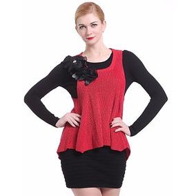 Chaleco Tejido Grueso Rojo Moda Asiática