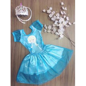 Kit 2 Vestidos Elsa E Ana Frozen Com Coroa Incluso Novidade