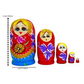 Matrioska Russa Madeira 05 Bonecas Pintado A Mão Original