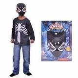 Kit De Remera Y Mascara Spiderman Hombre Araña Negro Disfraz