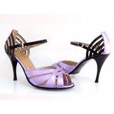 Zapatos De Baile,tango,salsa,fiesta Cuero Lila Con Charol