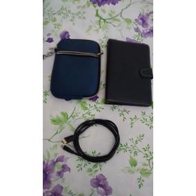 Case Com Teclado, Capa E Cabo Mini Hdmi Para Tablet