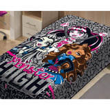 Cobertor Jolitex Raschel Monster High Cinza Solteiro