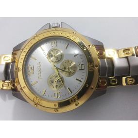 2a35c351c1b Relógio Teachear Scuba Pulseira Aço Dourado Mostrador Preto ...