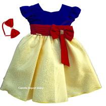 Vestido Infantil De Festa Branca De Neve Com Tiara