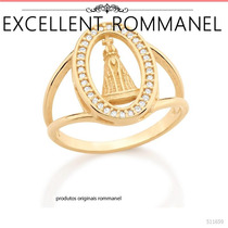 Anel Oval Nossa Senhora Aparecida Fol. Ouro 18k Rommanel