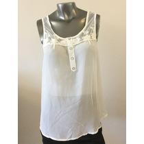 Blusa Gasa Blanca Mujer Fiesta Encaje Día/noche Diseño Nueva
