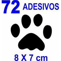 Adesivo Piso Parede Pata Pegada Pet Cachorro 72 Unidades