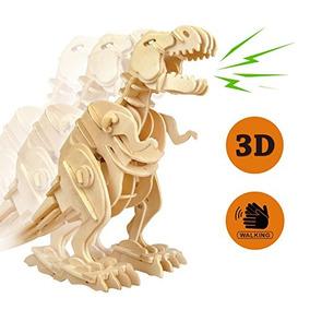 3d T-rex A Pie Del Dinosaurio De Madera Del Rompecabezas Rob