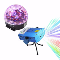 Kit Luces Disco Audio Rítmico Efectos Bola Led Y Lasermini