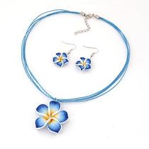 Collar Y Aretes Flor De Mayo De Arcilla Polimérica Kawaii