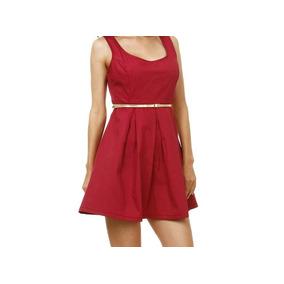 Vestido Feminino Em Sarja Com Cinto Tam M! Novo