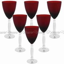Conj. Taças Para Vinho Em Cristal Vermelho 06 Unidades